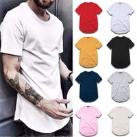 T Shirt Moda Extendida Street-shirt-shirt Hombre Ropa curvada Hemblado Línea larga Tops Tees Hip Hop Urban Blank Basic T SHIRTS TX135