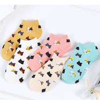 5Pairs New Women Cotton Ankle Socks Cute Cat Colorful Funny Socks Casual Animal Fruit Cake Cartoon Socks For Girls