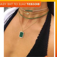2019 summer new baguette cubic zirconia tennis choker necklace chain for women rainbow green cz paved layer fashion jewelry J1218