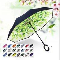Maniglia inverso Ombrello Stampa FIMBRIA Antivento antivento Reversito Sunscreen Protezione della pioggia Ombrelloni Piegabile a doppio strato invertito FWB6912
