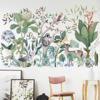 Wall Stickers Cartoon Tropical Rainforest Monkey Tree Decals For Kids Room Nursery Base Decoration