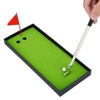 Golf Training Aids Pen Set Desktop Goft Gift Mini Green Driving Range Pens With Club And Metal Balls Flag J2H5