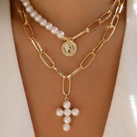 Chains Designer Freshwater Real Natural Pearl Charms O-shaped Gold Plated Chain Necklace Women Jewelry Fashion