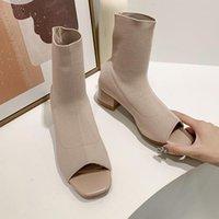 الأحذية yuxiang الخريف النساء الأحذية للأزياء زقزقة اصبع القدم صندل التمهيد الانزلاق على تمتد الجوارب في الكاحل في الهواء الطلق