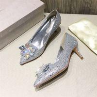 2021 designer sexy luxury girl pencil crystal shoes flat bottom bridal dance shiny women's wedding pointed diamond comfortable stiletto 6.5cm