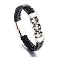 Fashion Punk Genuine Leather Man Skull Bracelet Black  Silver High Quality Magnetic Clasp Father's Day Gift Big Discount Bangle