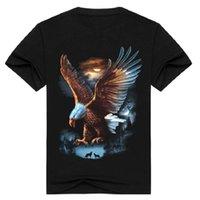 Moda streetwear homens 3D águia impressão t-shirt de manga curta rocha de metal roupas de animal camiseta preto o pescoço tops camiseta bmtx14 f