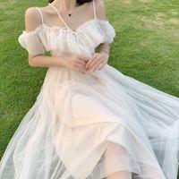Bella Philosophie Lolita Style Mesh Rüschen Slash Neck Off Schulter Lace Up Frauen Sommer Weiß Kleid Spaghetti Strap Kleider y0628