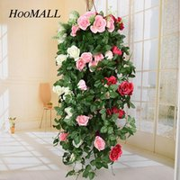 Decorative Flowers & Wreaths 90cm Fake Silk Rose Flower Rattan Wall Hanging Vine Artificial Green Leaves DIY Craft Home Wedding Decoration