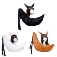 일본어 애니메이션 코스프레 의상 액세서리 성인 어린이 솜털 봉제 고양이 늑대 귀마개 머리 클립 솔리드 컬러 긴 동물 꼬리
