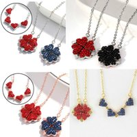 Pendant Necklaces 2021 Fashion Folding Four Clover Heart For Women Simple Flower Necklace Birthday Jewelry Collares De Moda