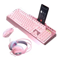 Mouse Keyboard Set Wired Gaming Mechanical Headphone with Microphone Light for PC Computer Laptop Pink Games Cute 210610