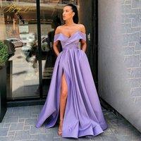 Off Shoulder Satin Evening Dresses Long Sexy High Slit Gown Elegant Prom Formal Party Dress Robe De Soiree