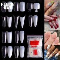 False Nails 500pcs Professional Acrylic Fake Nail Art Ballet Long French Pointed Display Tips DIY Salon Tools Toe Natural/Clear