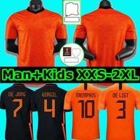 Memphis 2021 Holanda Futebol Jersey Mundo Preliminar Gullit Sneijde 2022 Holanda Home de Ligt Strootman Van Dijk Virgil Camisas Adult Men + Kids Kit + Kit
