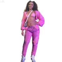 Two Piece Dress Winter Women Tracksuit Rose Velvet Jackets +pants Suits Set Night Clubwear Sexy Wool Bandage Sportswear Outfits