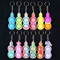 Wholesale Cheap simple fidget key ring keychains sensory Finger push bubble popper popping toys 2 balls silicone key chain kids decompression christmas toy G10DQAY
