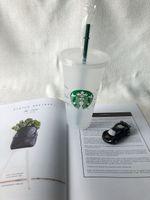 Germaid Boddess Starbucks 24oz / 710 мл пластиковые кружки Tumbler многоразовые четкие питьевые плоские нижние колонны формы крышки соломенные чашки