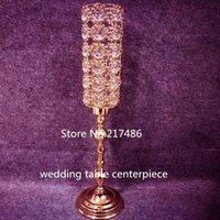 Tall Crystal Wedding Centerpiece crystal Vase  flower Stand wedding Pillar Party Decoration