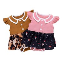 Girls Rompers Baby One Piece Clothing Clothes Infant Jumpsuit Girl Dress Summer Cotton Leopard Short Sleeve Romper 0-2T B5278