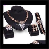 Прямая доставка 2021 Deisgner Ювелирные наборы Свадебные кольца для женщин цветок ожерелье Bracelst серьги кольца Мода Jq98A