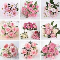 Dekoratif Çiçekler Çelenkler 1 Demet 9 Kafaları Çeşitli Yapay Şakayık Çay Gül Sonbahar Ipek Çiçek DIY Oturma Odası Ev Bahçe