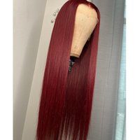 Synthetic Wigs 99J Wine REd Color Straight Lace Front Wig For Black With Baby Hair Preplucked Women Daily Heat Temperature