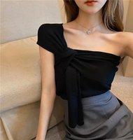 Women's Tanks & Camis Camisole Design Sense Black Knitted Summer Slim Slimming Crop Top