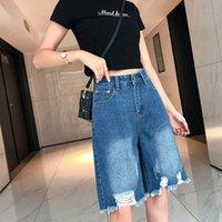 Women's Jeans 2021 Summer Female Half With Holes High Waist Button Knee-length Woman Tassel Hem Young Girls' Denim Trousers