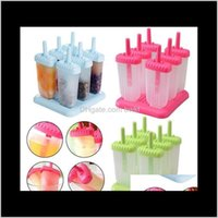 Kitchen Tools Kitchen, Dining Bar Home & Garden6Pcs Set Diy Lolly Rec Shaped Pops Molds Tray Stick Ice Makers Mould Drop Delivery 2021 Sk8D1