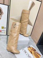 Köpekbalığı Kilidi Moda Marka Büyük Boy 35-42 Kadın Diz Yüksek Çizmeler İnek Deri Platformu Kış Ayakkabı Kadın Düz Topuk Sıcak Kürk Yüksek Uzun Çizmeler Ins Sıcak Ayakkabı