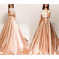 2021 Crystal design two piece champagne evening dresses short sleeves bateau neckline lace bodice sweep train A-line formal evening gowns