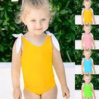 طفل قطعة واحدة ملابس السباحة طفلة صغيرة المايوه الحمالة بيكيني الاستحمام عارية الذراعين الطفل السباحة ارتداء بدلة