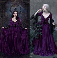 2021 Purple Dress Wedding Dresses With Long Sleeve Lace Appliqued A Line Sweep Train Vintage Gothic Custom Made Country Bridal Gowns