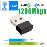 Adaptateur WiFi mini USB 802.11ac Carte de réseau Dongle 1200 Mbps 2,4g 5g Récepteur WiFi sans fil à double bande pour ordinateur de bureau pour ordinateur portable