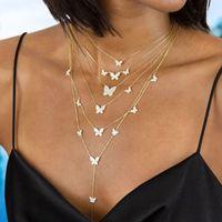 Canner Goldcolor Zincir Kolye Kelebek Kolye Kadınlar için Katmanlı Charm Gerdanlık Kolye Boho Plaj Moda Takı Hediye Ucuz