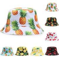 Pineapple Printed Double-sided Bucket Hats for Women Men Lemon Cherry Fruit Summer Panama Cap Sun Fishing Bob Fisherman Hat Bone Q0811