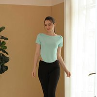 Spring and Summer Yoga Suit Short Sleeve Top Women's Hem Arc Exposed Navel Outdoor Sports Fitns T-shirt Smock