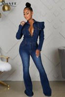 Women's Jumpsuits & Rompers RMSFE 2021 Long Sleeve Lapel Single Breasted Washing Water Fashion Casual Slim Jumpsuit Trumpet Jeans