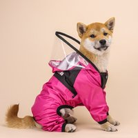 Dog Apparel Four seasons universal raincoats for dogs Four-legged transparent PU waterproof clothing pets all-inclusive hooded raincoat