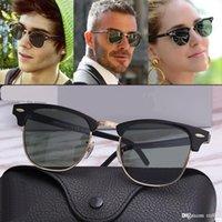 Mode tendance demi-cadre hommes femmes rayons lunettes de soleil rétro conduite UV400 lunettes de soleil PC + alliage luxe banlieues concepteurs de marque métal cadre polaroid lentille lunettes femelles