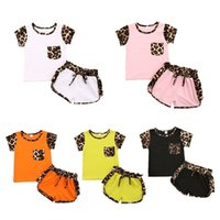 6 Colors kids boys girls short sleeve clothing set leopard patchwork tshirts tops and drawstring shorts biker sportswear summer outfit track