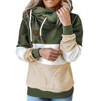 Women's Hoodies & Sweatshirts Autumn Winter Patchwork Warm Fleece Hoodie Women Long Sleeve Drawstring Hooded Pullover Tops Casual Oversize H