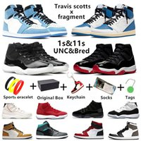 Air Jordan 1 Jumpman 1 Travis scott x fragmento 11s Tênis de basquete masculino Jubilee University blue 1s Twist 11 bred concord Cap Vestido masculino feminino esportivo com box