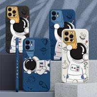 Cartoon Space Astronaut Telescope Phone Case voor iPhone 12 11 Pro Max Mini XS X XR 7 8 Plus SE 2020 Vierkante Siliconen Cover