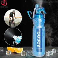 RAPIDLY 590ml Bike PE Double Layer Cold Spray Water Bottle Anti-Fall Bicycle Hydro Flask Sports Outdoor Running Cycling Kettle Y0915
