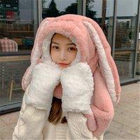 3 Luvas Luvas Cachecol Longas Orelhas Longas Cartoon Chapéu Kawaii Aniversário Engraçado Bunny Bunny Tampão de pelúcia inverno para adultos namorada