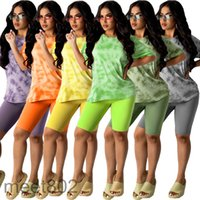 Women tracksuit 2021 summer Designer Fashion women's tie dye printing leisure home two piece sets Short sleeve Shorts Slim casual Outfits