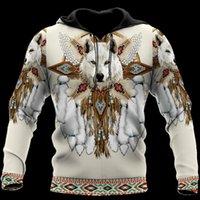 Mens Designer T Shirt Uomo Donna 3D Stampa completa Nativo Indiano Wolf Felpe con cappuccio Harajuku Zipper Pullover Felpa Unisex Autunno Casual Giacca TRACKSUIT 004