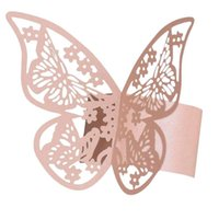 50pcs 결혼식을위한 3D 나비 종이 냅킨 링 파티 냅킨 테이블 장식